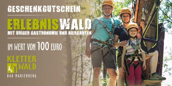 Geschenkgutschein Wert 100 € für Eintritt im Kletterwald Bad Marienberg