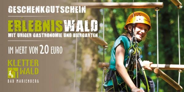 Geschenkgutschein Wert 20 € für Eintritt im Kletterwald Bad Marienberg
